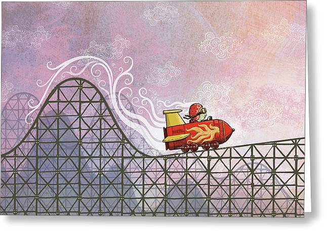 Rollercoaster Greeting Cards - Rocket Me Rollercoaster Greeting Card by Dennis Wunsch
