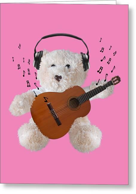 Toy Guitars Greeting Cards - Rockin Teddy Greeting Card by Gill Billington