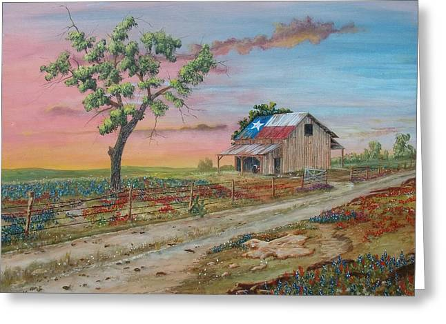 Tin Roof Greeting Cards - Texas Rockin Wildflowers Greeting Card by Michael Dillon
