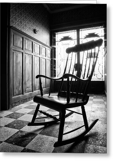 Rocking Chairs Greeting Cards - Rocking Chair - Abandoned Building Greeting Card by Dirk Ercken