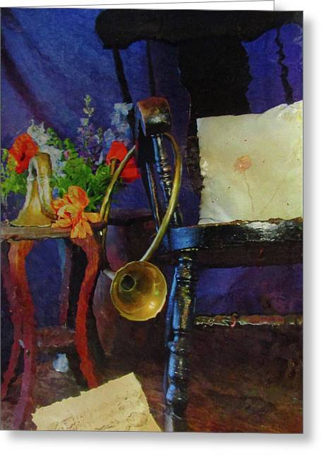 Rocking Chair And Horn No. 3 Greeting Card by Reid Hitzeman