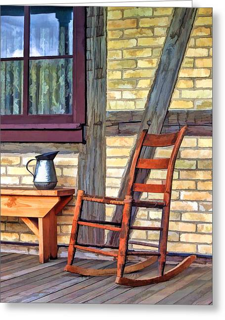 Rural Life Greeting Cards - Rocking Chair on Porch at Old World Wisconsin Greeting Card by Christopher Arndt