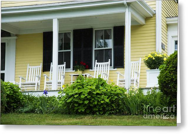Old Maine Houses Greeting Cards - Rocking Chairs Greeting Card by Alana Ranney