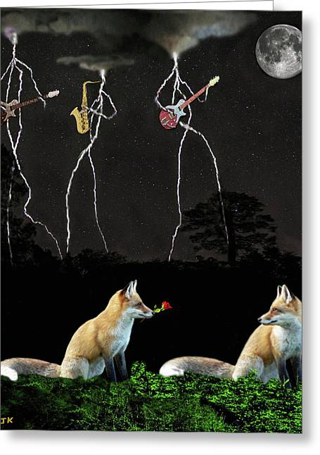 Belated Card Mixed Media Greeting Cards - Rocking Foxs Greeting Card by Eric Kempson