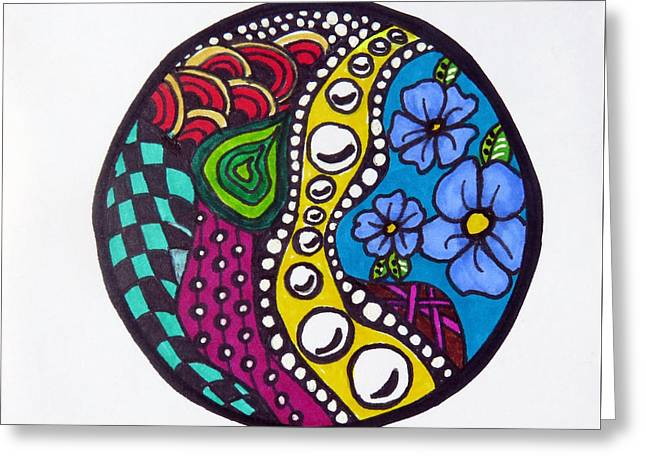 Hand Drawn Greeting Cards - Rocking Mandala Greeting Card by Michelle DeLore