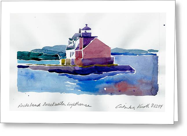 Recently Sold -  - Maine Lighthouses Greeting Cards - Rockland  Breakwater lighthouse watercolor 2014 Maine coast Greeting Card by Catinka Knoth