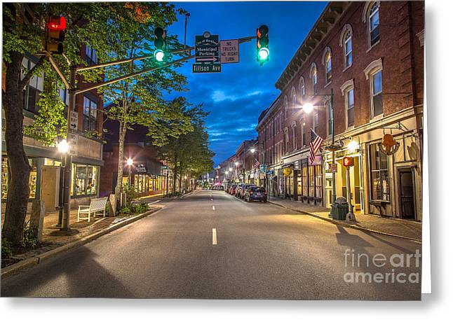 Main Street Greeting Cards - Rockland Main Street Greeting Card by Benjamin Williamson