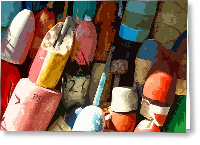 Abstractions Greeting Cards - Rockport Buoys Greeting Card by Jean Hall