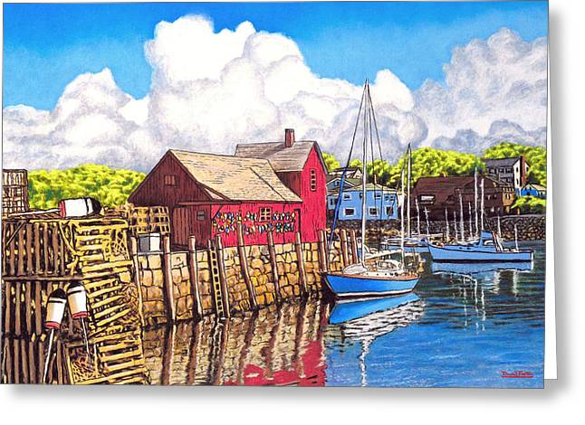 Los Angeles Pastels Greeting Cards - Rockport Cove Greeting Card by David Linton