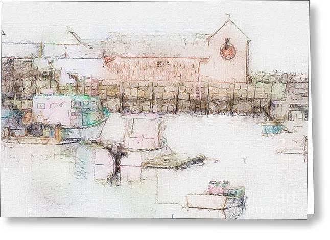 New England Village Greeting Cards - Rockport  Fishing Village Greeting Card by Marcia Lee Jones