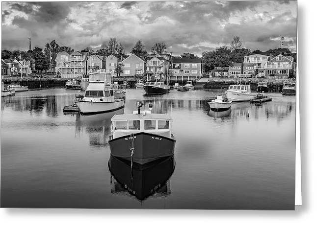 Wharf Greeting Cards - Rockport Harbor BW Greeting Card by Susan Candelario