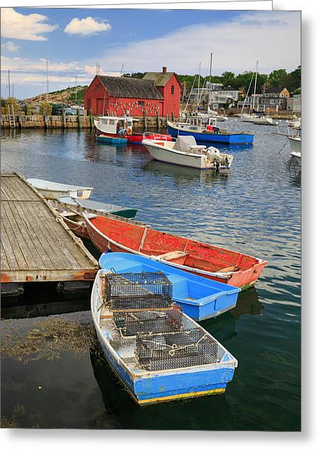 Cape Neddick Lighthouse Greeting Cards - Rockport Harbor  Greeting Card by Emmanuel Panagiotakis