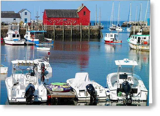New England Village Greeting Cards - Rockport Harbor Greeting Card by Gina Sullivan