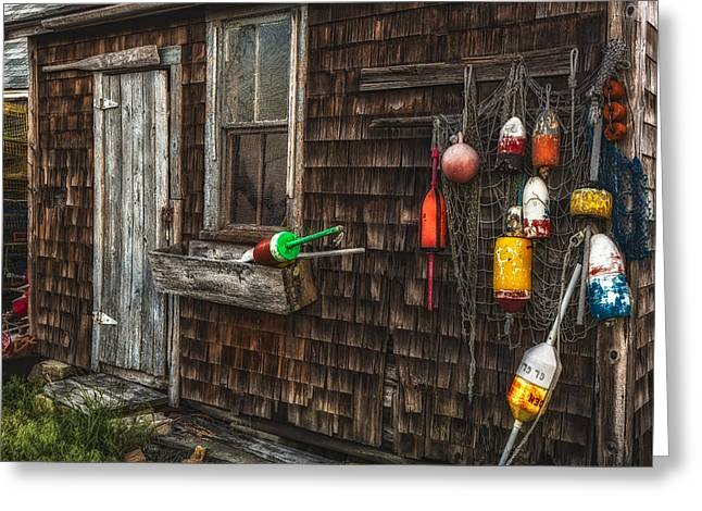 Wharf Greeting Cards - Rockport Lobster Shack Greeting Card by Susan Candelario
