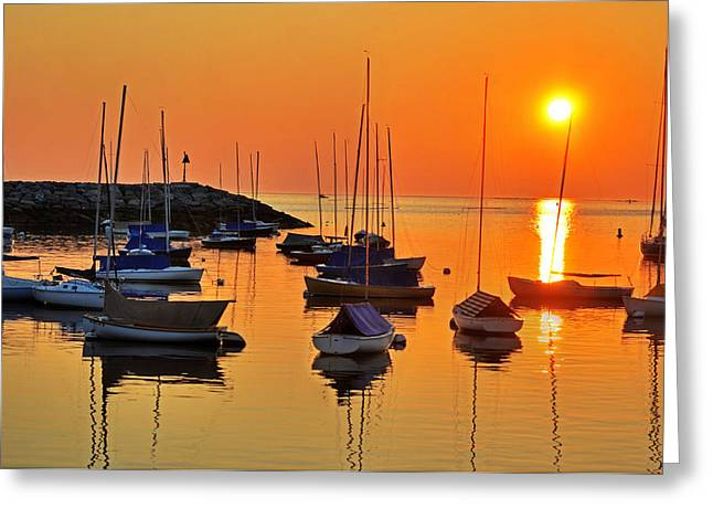 Rockport Ma Boats Rockport Harbor Greeting Card by Toby McGuire