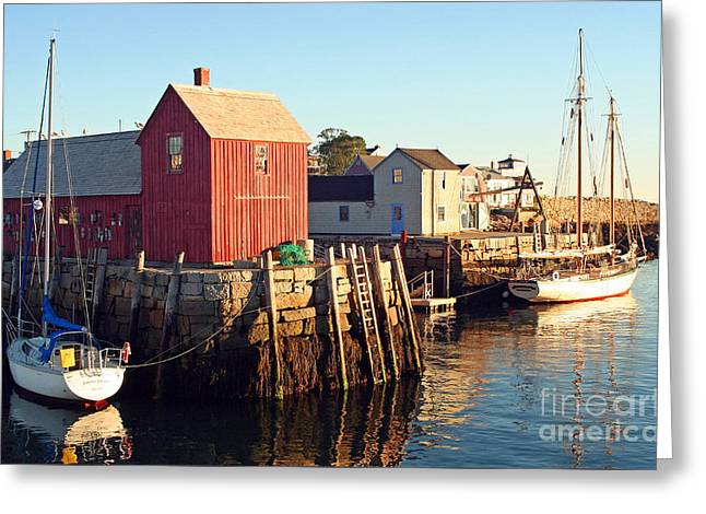 Docked Sailboat Greeting Cards - Rockport Massachusetts Greeting Card by Steve  Gass