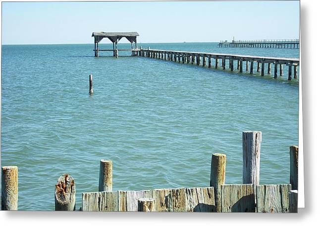 Tropical Beach Greeting Cards - Rockport Pier Greeting Card by Chris Andruskiewicz