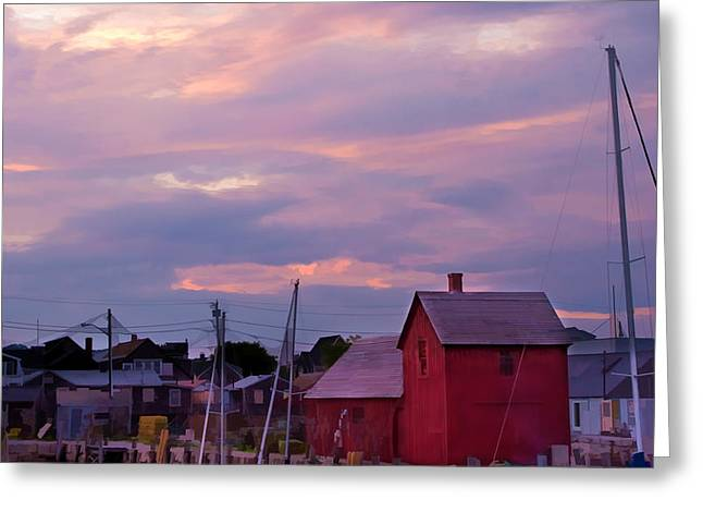 Rockport Sunset Over Motif #1 Greeting Card by Jeff Folger