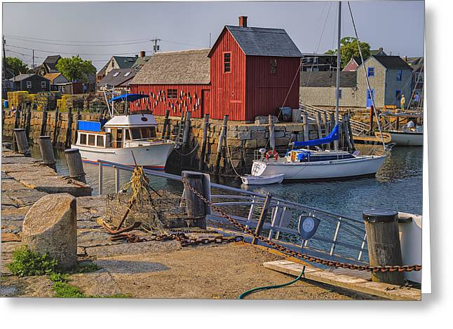 Book Cover Art Greeting Cards - Rockport Waterfront Greeting Card by Mark Myhaver
