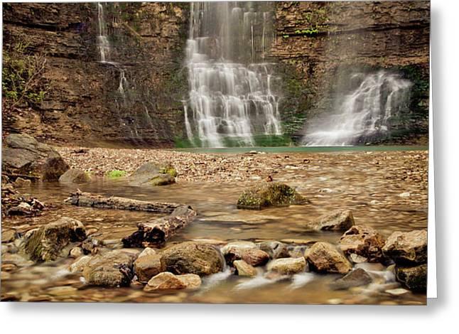 Rocks and Waterfalls Greeting Card by Iris Greenwell