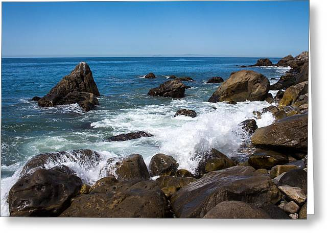 Recently Sold -  - Ventura California Greeting Cards - Rocks and Waves Point Mugu California Greeting Card by Danny Goen