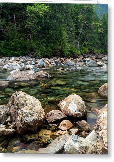 Water Flowing Greeting Cards - Rocks at Gold Creek Greeting Card by Michael Russell
