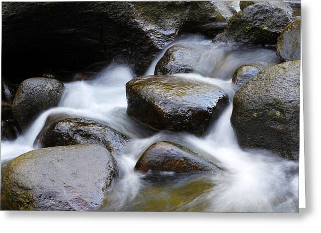Rocks In Stream Greeting Card by Les Cunliffe
