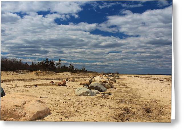York Beach Greeting Cards - Clouds and Rocks Greeting Card by Karen Silvestri