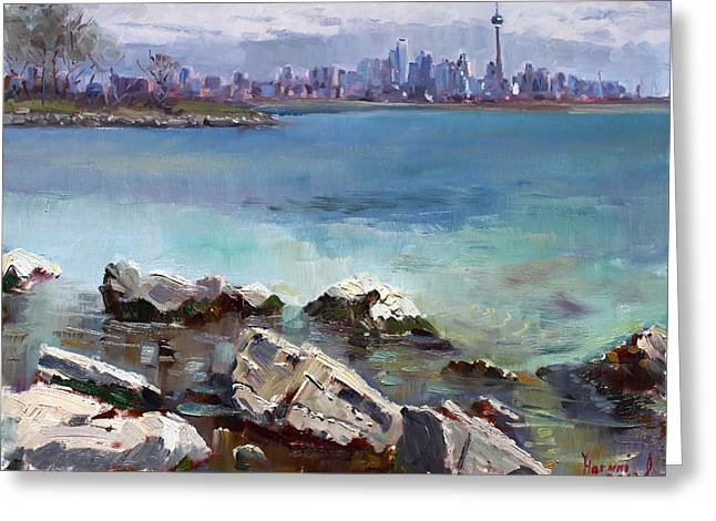 Skyline Paintings Greeting Cards - Rocks n the City Greeting Card by Ylli Haruni
