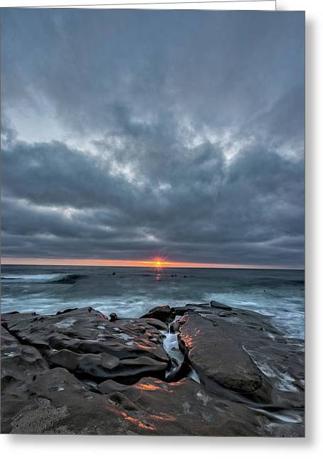 Rocks On Fire Greeting Card by Peter Tellone