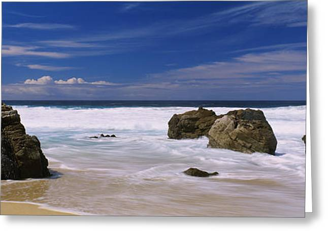 Big Sur Beach Greeting Cards - Rocks On The Beach, Big Sur Greeting Card by Panoramic Images