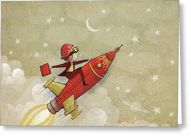 Rocket Greeting Cards - Rockship Greeting Card by Dennis Wunsch