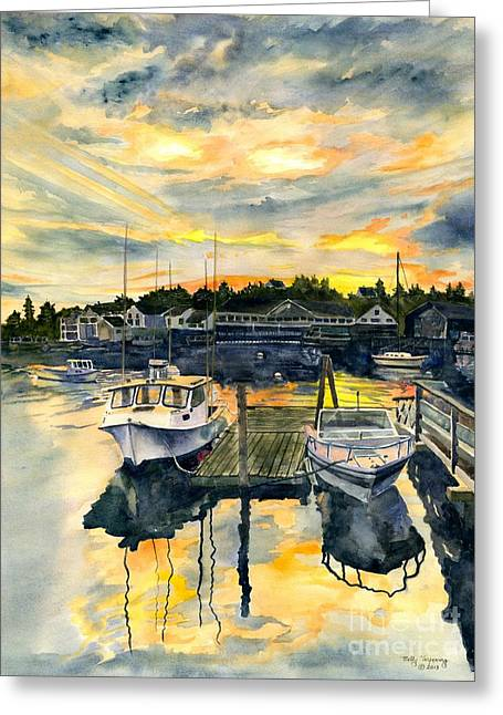 Lobster Shack Greeting Cards - Rocktide Sunset Greeting Card by Melly Terpening
