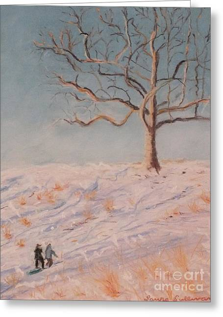 Tobogganing Pastels Greeting Cards - Rockwood Hall Snow Day Greeting Card by Laura Sullivan