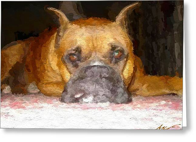 Dogs Digital Greeting Cards - Rocky Greeting Card by Anthony Fishburne