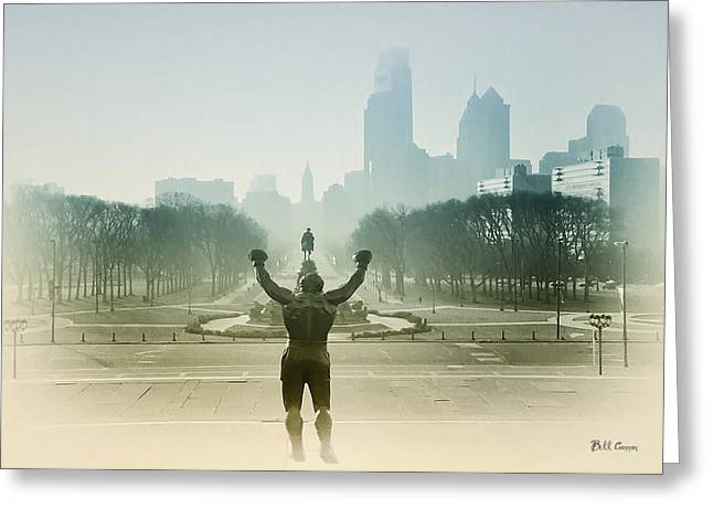 Parkway Digital Greeting Cards - Rocky at the Top of the Steps Greeting Card by Bill Cannon