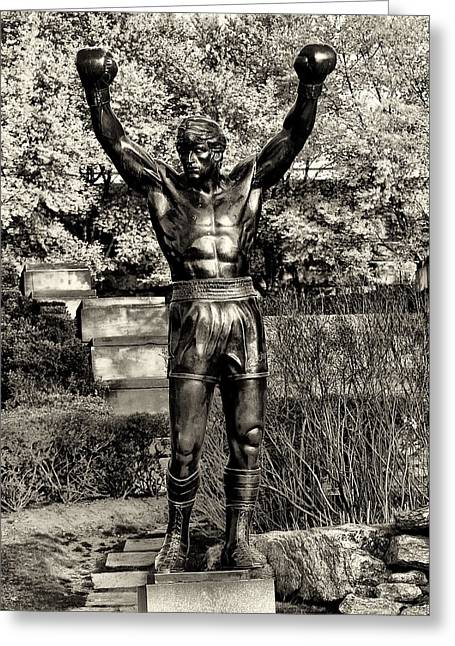 Rocky Balboa In Sepia Greeting Card by Bill Cannon