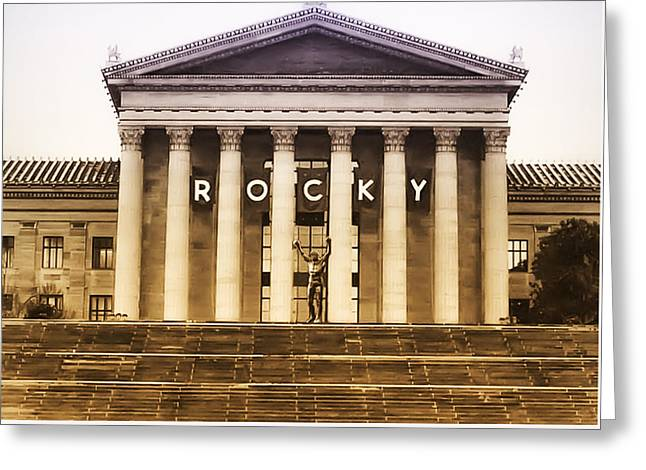 Rocky Balboa On The Art Museum Steps Greeting Card by Bill Cannon
