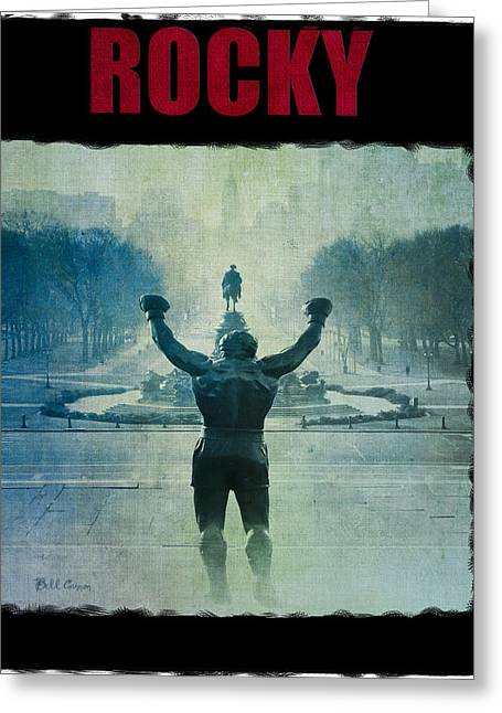 Champs Greeting Cards - Rocky Balboa on top of The Art Museum Steps Greeting Card by Bill Cannon