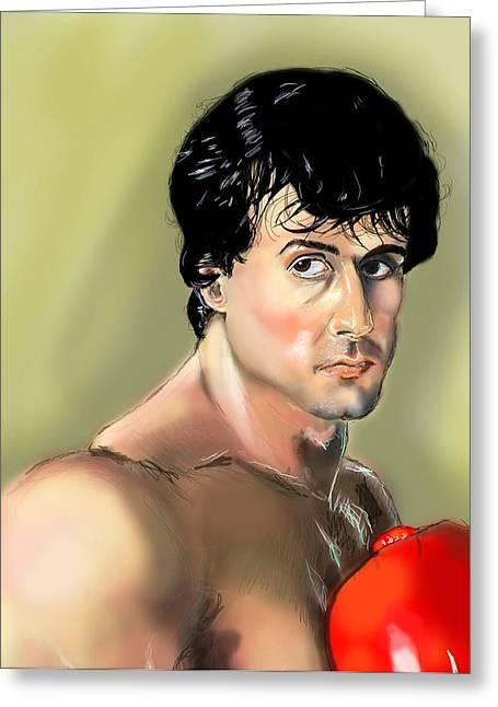 Stallone Digital Greeting Cards - Rocky Balboa Greeting Card by Vinny John Usuriello