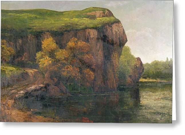 Cliff Paintings Greeting Cards - Rocky Cliffs Greeting Card by Gustave Courbet