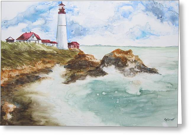 Guides Paintings Greeting Cards - Rocky Coast Greeting Card by Marsha Elliott