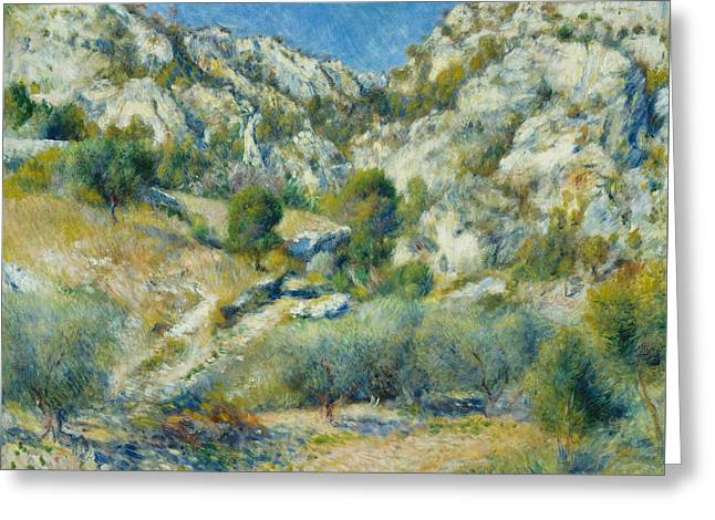 Renoir Greeting Cards - Rocky Crags at L Estaque Greeting Card by Auguste Renoir