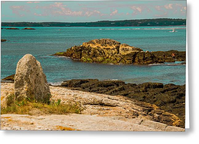 Maine Beach Greeting Cards - Rocky Isles at Popham Beach Greeting Card by Laurie Breton