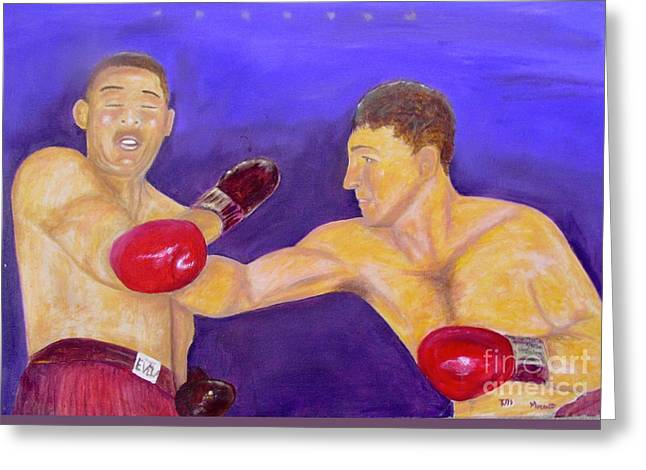 Marciano Greeting Cards - Rocky Marciano - Joe Louis - Original Oil Painting Greeting Card by Anthony Morretta