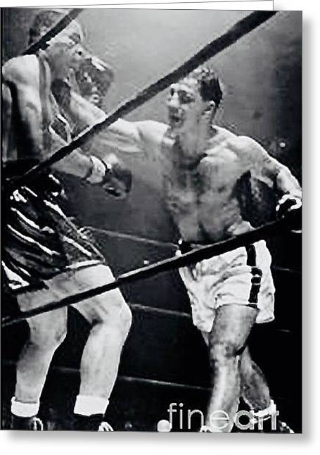Marciano Greeting Cards - Rocky Marciano vs Joe Louis Greeting Card by Anthony Morretta