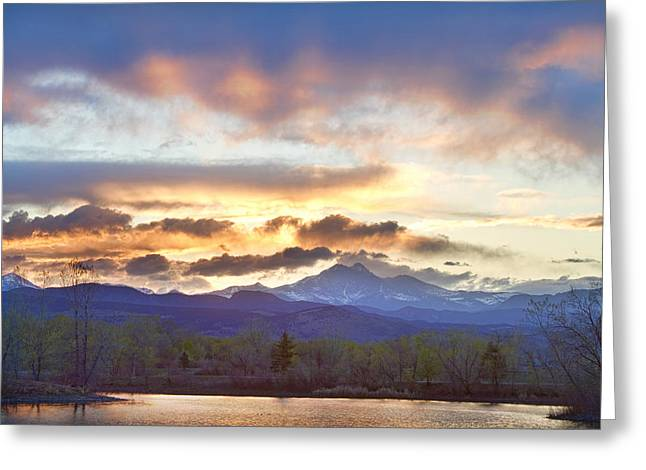 Meeker Greeting Cards - Rocky Mountain April Springtime Sunset  Greeting Card by James BO  Insogna