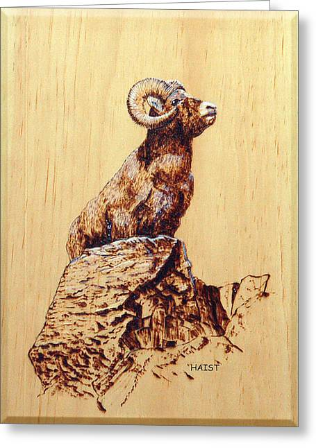 Horns Pyrography Greeting Cards - Rocky Mountain Bighorn Sheep Greeting Card by Ron Haist