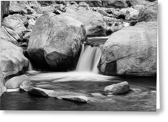 White And Black Waterfalls Greeting Cards - Rocky Mountain Canyon Waterfall in Black and White Greeting Card by James BO  Insogna