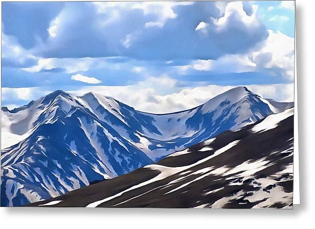 Hiking Mixed Media Greeting Cards - Rocky Mountain High Trail Ridge Road Greeting Card by Dan Sproul